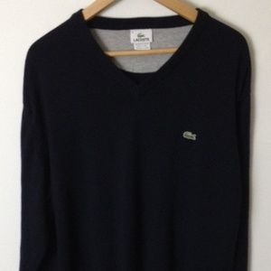 Lacoste Long Sleeve V-Neck Cotton Blue Sweater 6